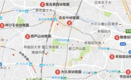 高田馬場 で リトミック レンタルスタジオ 周辺の幼稚園マップ