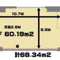高田馬場 レンタルスタジオ は60.19㎡の 広い 貸しスタジオで 図面 はこちら。