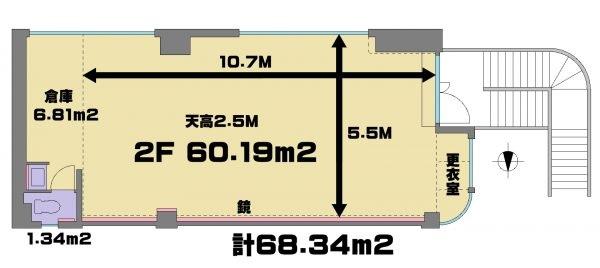 高田馬場駅前でいちばん広いスタジオ レンタルスタジオ は68.3㎡の 広い 貸しスタジオで 図面 はこちら。